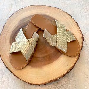 Gold Woven Slide Sandals - EUC